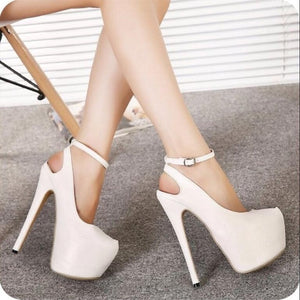 White Sling Back Platforms