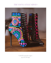 Load image into Gallery viewer, Sequined High Heel Ankle Boots