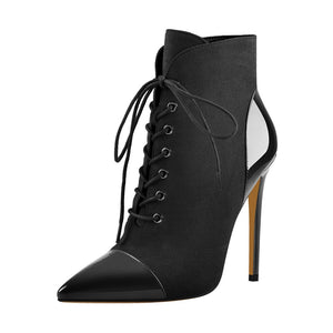 Pointed Toe Lace Up Boots