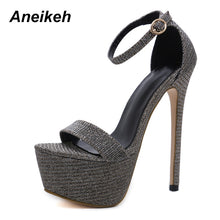 Load image into Gallery viewer, Aneikeh Summer Glitter High Heel Sandals