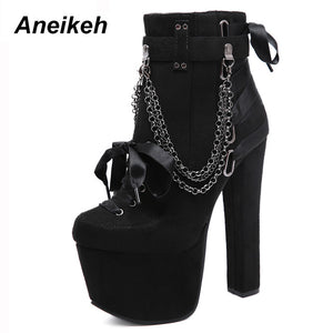 Aneikeh Winter Chain & Rivet Womens Boots