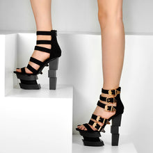 Load image into Gallery viewer, Strappy Block Heel Sandals