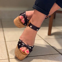 Load image into Gallery viewer, Polka Dot Wedge Sandals