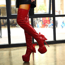 Load image into Gallery viewer, Red Winter High Heel Boots