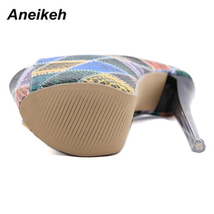Aneikeh Totem Leather Slip-On Heels