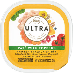 Nutro Ultra Pate with Toppers Chicken & Salmon Entree Premium Dog Food Tub