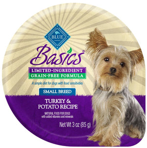 Blue Buffalo Basics Limited Ingredient Grain Free Small Breed Turkey and Potato Dog Food Cups