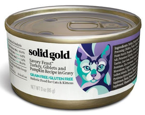 Solid Gold Grain Free Savory Feast Turkey and Giblets Recipe Canned Cat Food