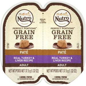 Nutro Perfect Portions Adult Grain Free Turkey and Liver Pate Wet Cat Food Trays