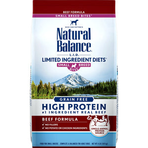 Natural Balance L.I.D. Limited Ingredient Diets Grain Free High Protein Beef Formula, Small Breed Bites Dry Dog Food