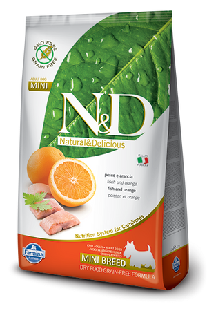 Farmina N&D Natural and Delicious Grain Free Mini Adult Fish & Orange Dry Dog Food