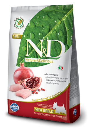 Farmina N&D Natural and Delicious Grain Free Mini Adult Chicken & Pomegranate Dry Dog Food