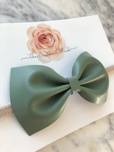 Genuine Leather Deep Green Bow
