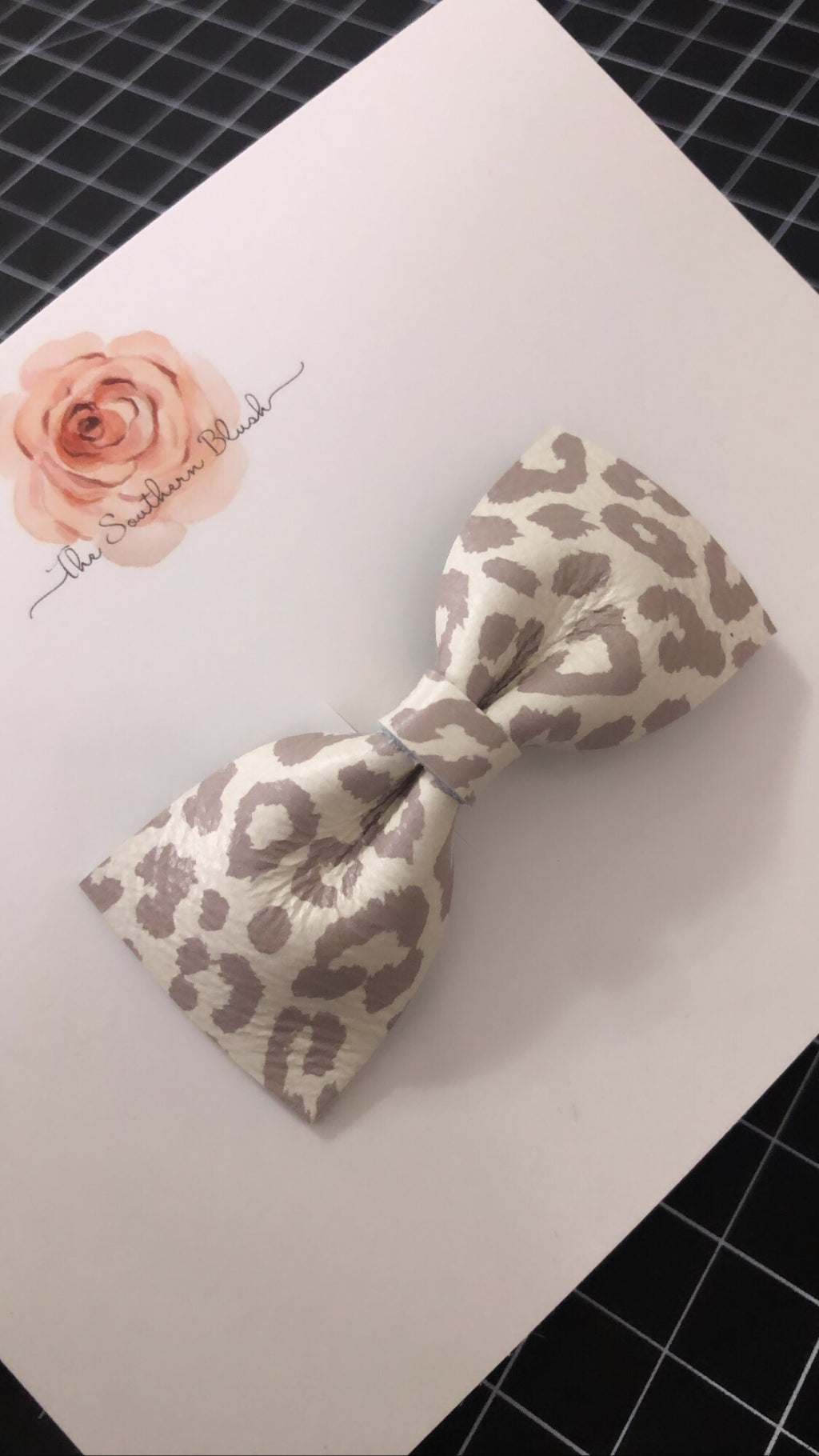 Genuine Leather- Snow Leopard - SMALL - Headband or Clip