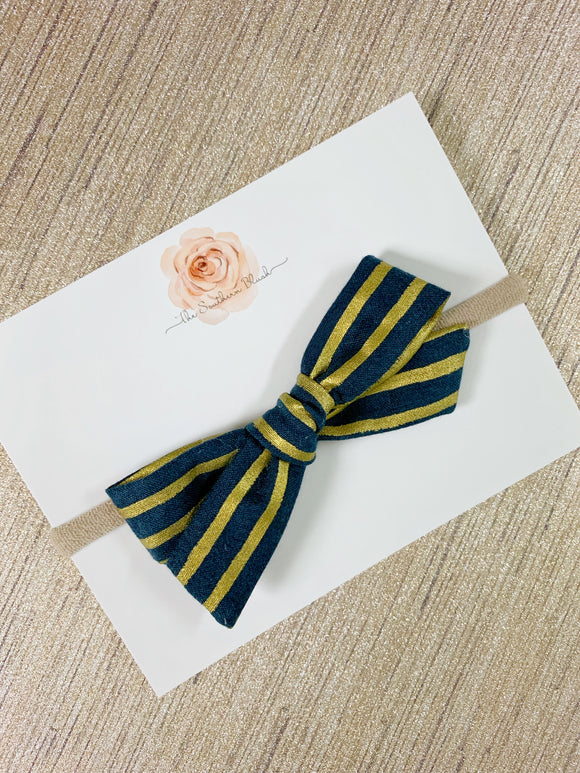 Navy + Gold Striped Schoolgirl Bow