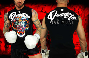 Muay Thai t shirts by Deathblo | Groovy colour tiger unisex vest