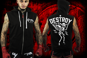 Mens sleeveless Muay Thai combat hoody | Destroy | DeathBlo