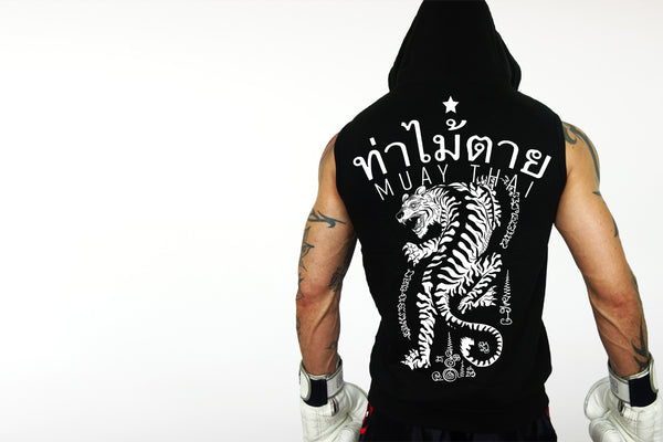 Muay Thai sleeveless hoodie by Deathblo | Fighting tiger back