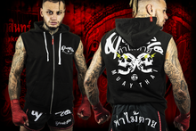 Load image into Gallery viewer, Mens sleeveless Muay Thai combat hoody | Twin Skulz | Deathblo