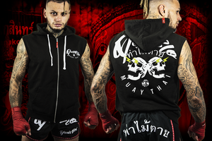 Mens sleeveless Muay Thai combat hoody | Twin Skulz | Deathblo