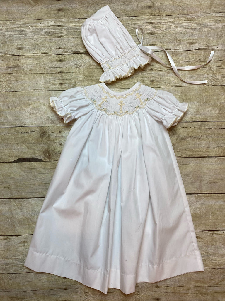 Cross Christening Gown w/ Bonnet