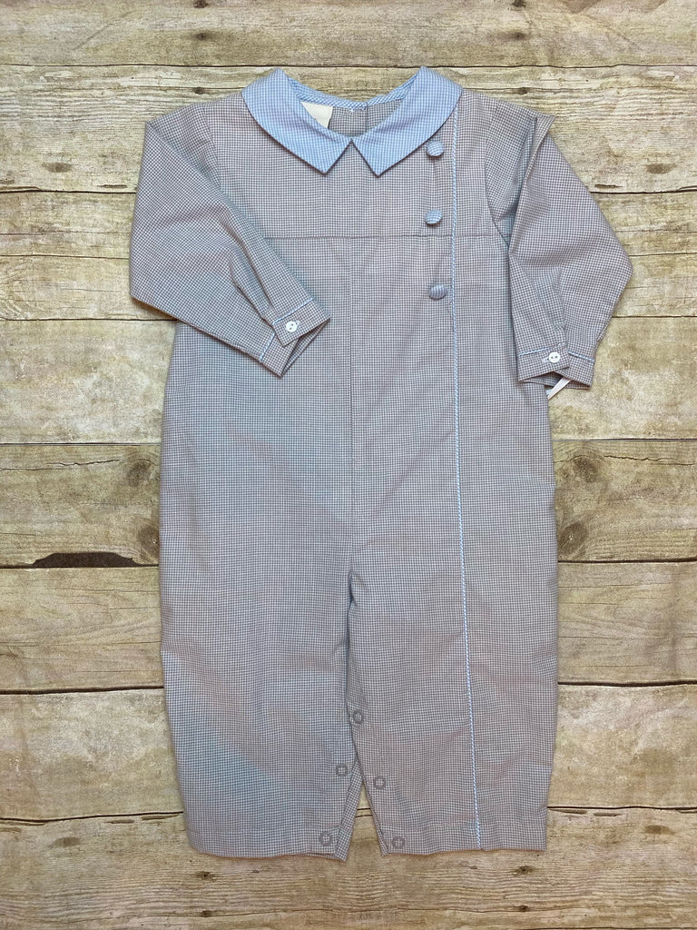 Grey Check Side Button Longall