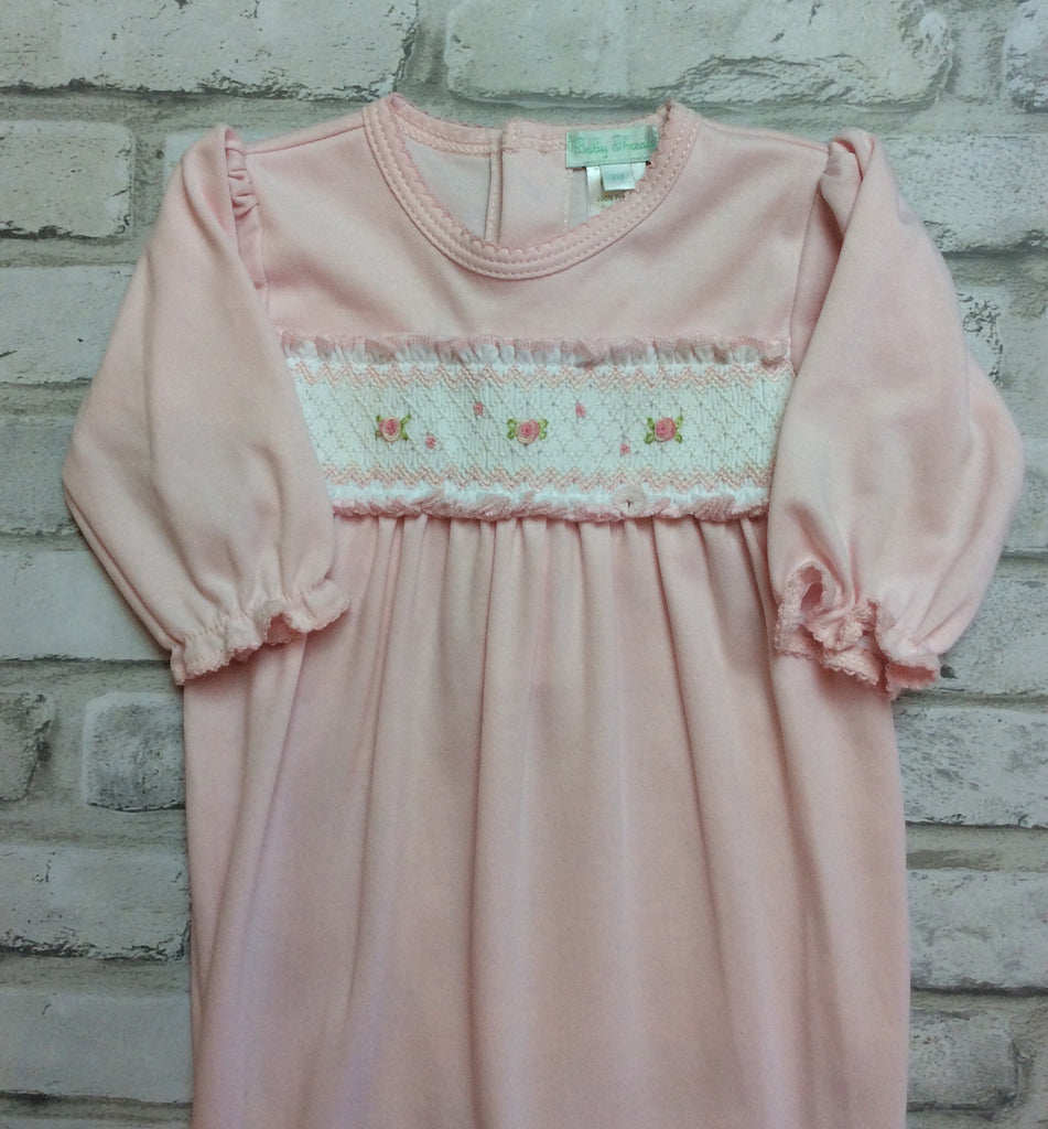 Pink Smocked Rose Footie
