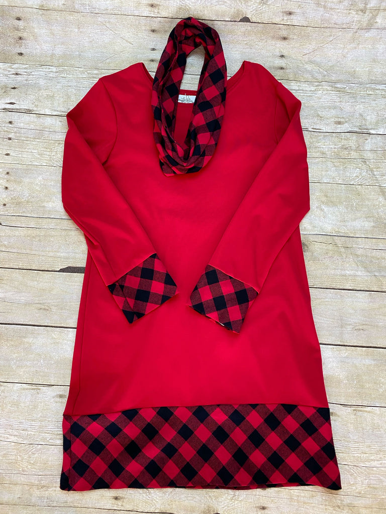 Red Dress with Buffalo Plaid Scarf