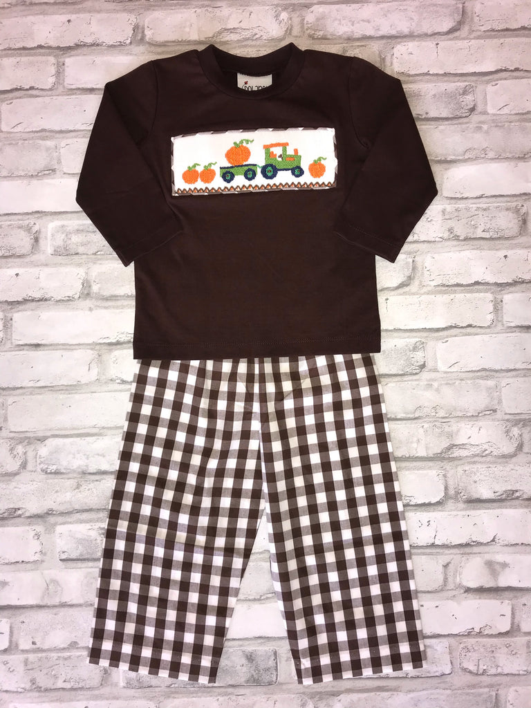 2 Piece Smocked Tractor/Pumpkin