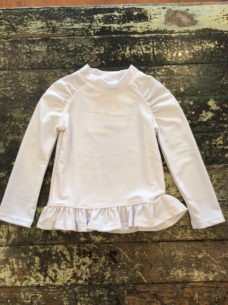 White Rash Guard Ruffle
