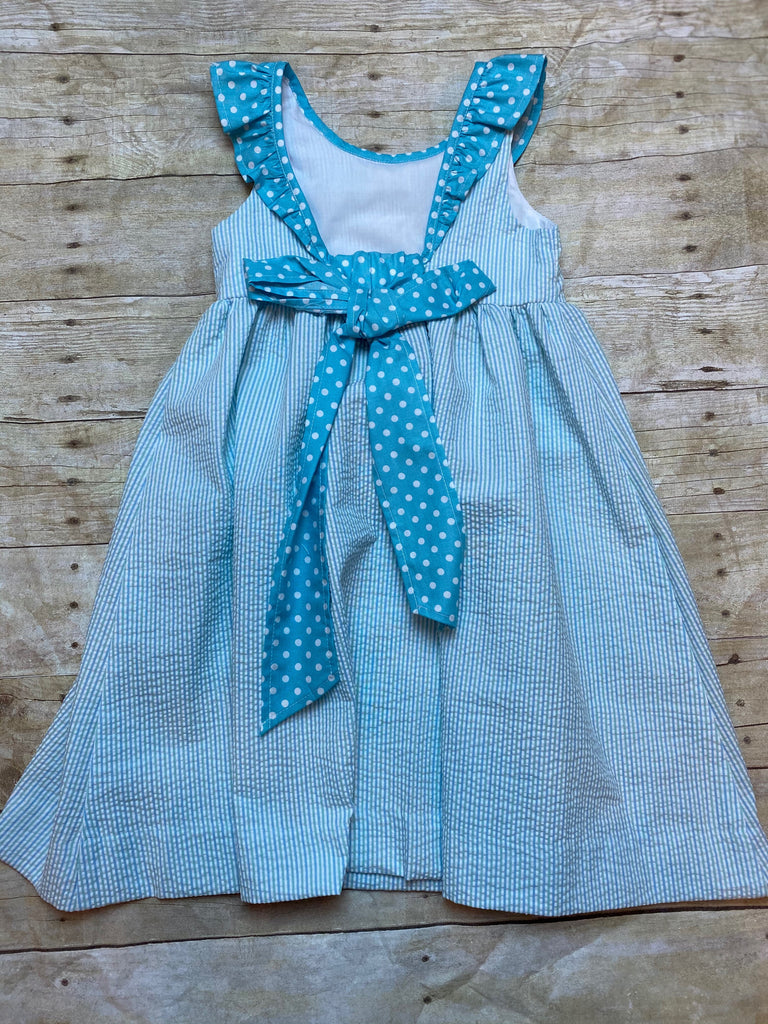 Blue & Green Stripe Dress, Polka Dot Ruffle