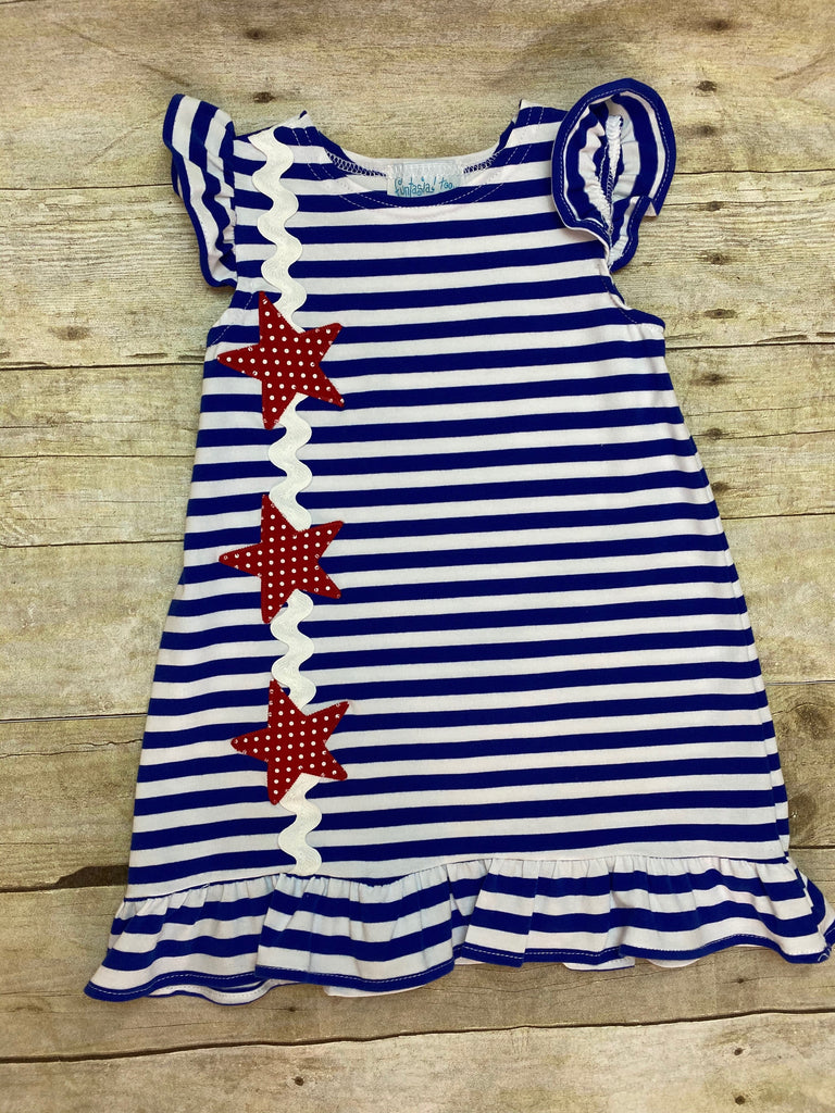 Stars & Stripes Angel Sleeve Dress