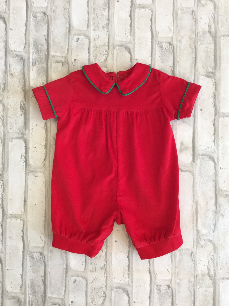 Red/Green Corduroy Romper