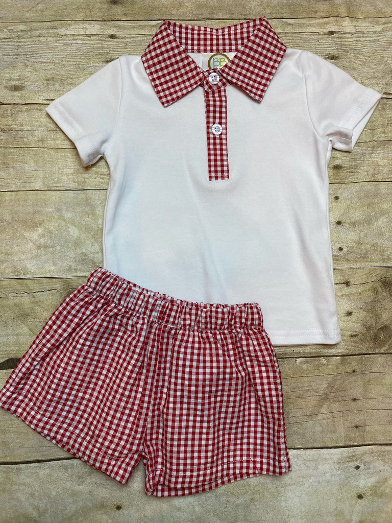 Gingham Collar Polo Shirt