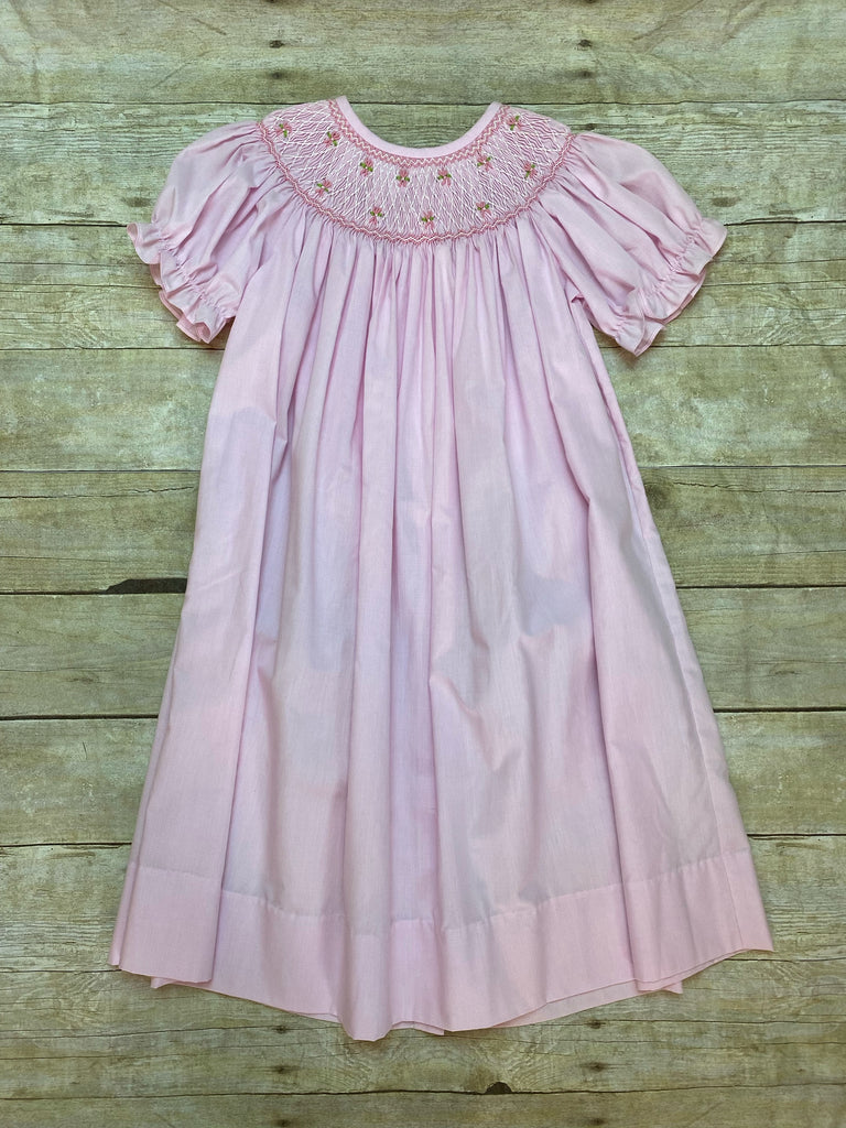 Pink Smocked Bishop Dress