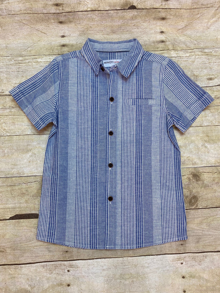 Blue Stripe Short-sleeve Button Down