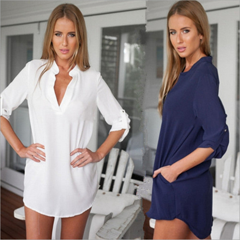 Casual Blouses Long Sleeve V-Neck  Plus Sizes - Endless curve