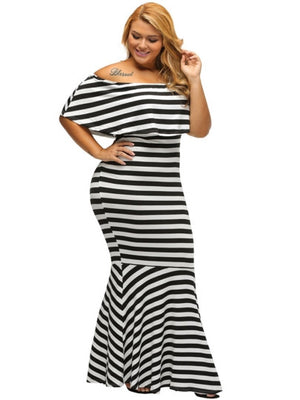 Plus Sizse Slash Neck Striped Women's Maxi Dress - Endless curve