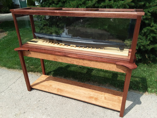 60 Inch Hardwood Ship Display Case Table
