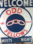 Vintage Odd Fellows meeting sign