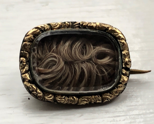 Early Victorian Hair Work Brooch Mourning Jewelry