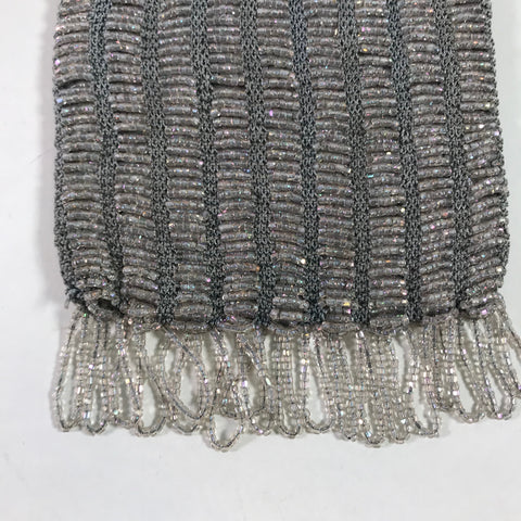 Flapper Style Grey And Iridescent Beaded Evening Bag Purse