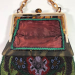 Vintage Beaded Evening Bag Purse With Celluloid Frame