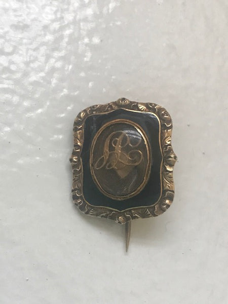Antique Memorial Hair Brooch/Pendant Enameled And Engraved