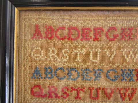 19thc Needlepoint Sampler dated 1856