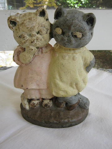 Antique Figural Cast Iron Door Stop. Pair of Cats