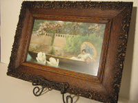 Antique Carved Oak Frame With Victorian Scene Of Woman