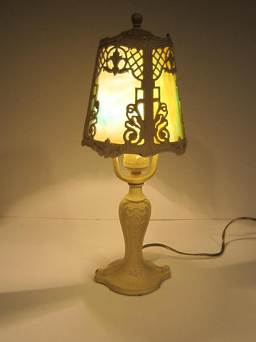 Antique leaded glass lamp