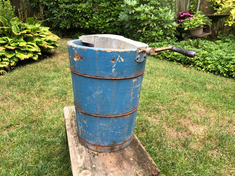Blue Painted wooden ice cream churn