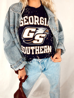 Go Big Blue GSU Tee (Acid Washed